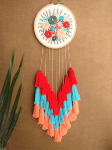 Hand Embroidered Floral Dreamcatcher - The Tassle Life