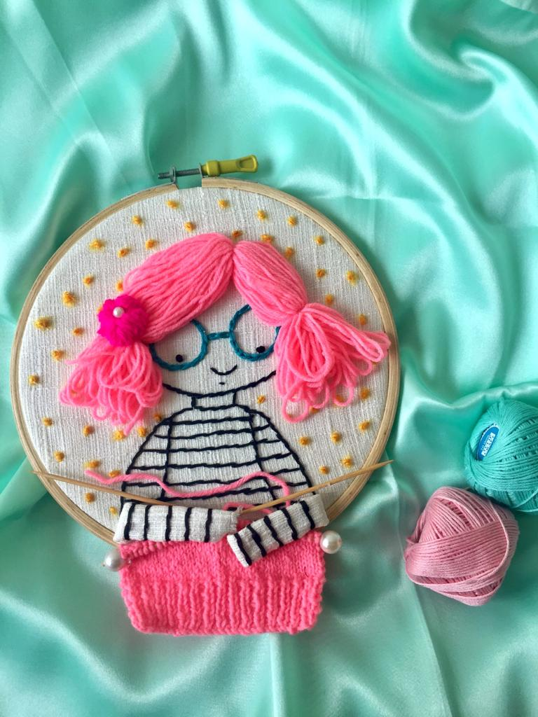 Pink Haired Girl Knitting Embroidered Hoop