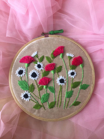 Floral Embroidered Hoop - The Tassle Life