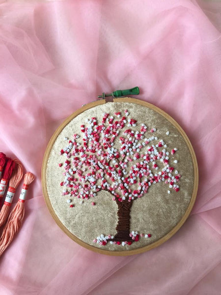 Cherry Blossom Tree Embroidered Hoop - The Tassle Life