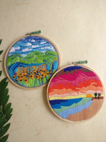 Hand Embroidered Hoop (Set of 2)