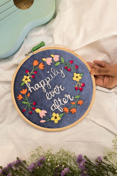 Happily Ever After Embroidered Hoop - The Tassle Life