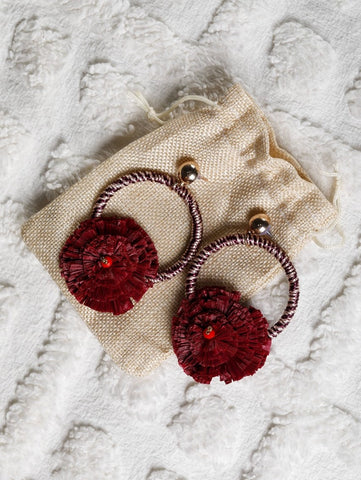 Maroon Raffia earrings on a circular hoop - The Tassle Life