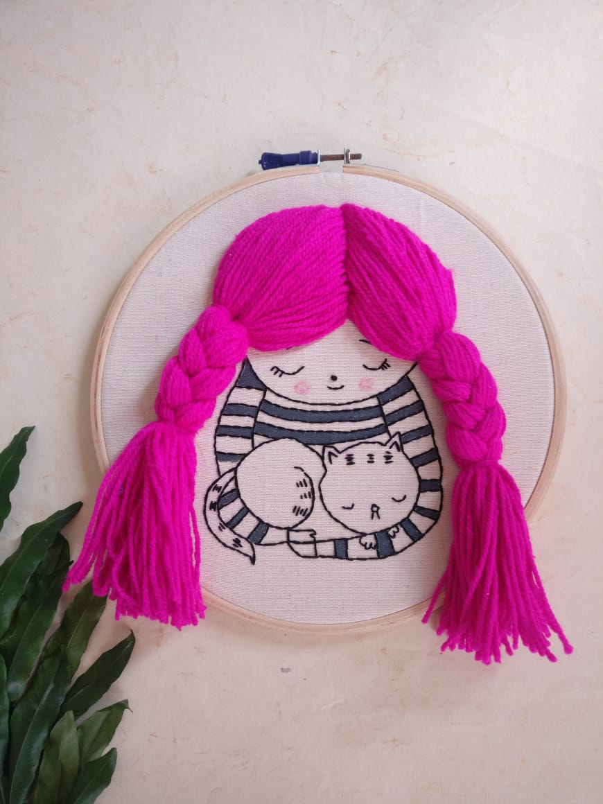 Pink haired girl Embroidered Hoop
