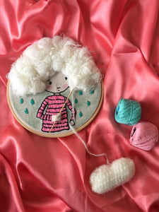 White Haired Girl Knitting Embroidered Hoop