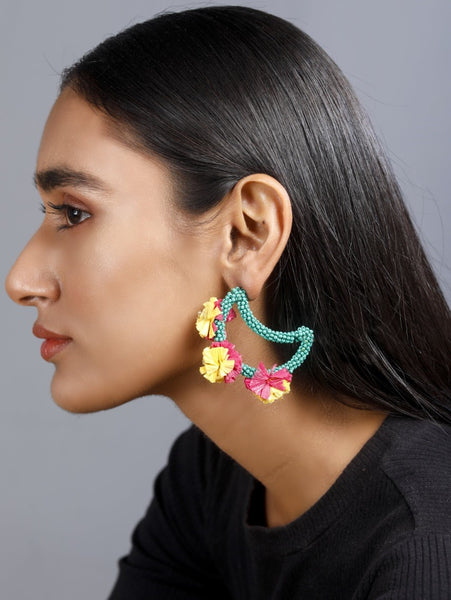 Moon shaped earrings with multi-coloured raffia work - The Tassle Life
