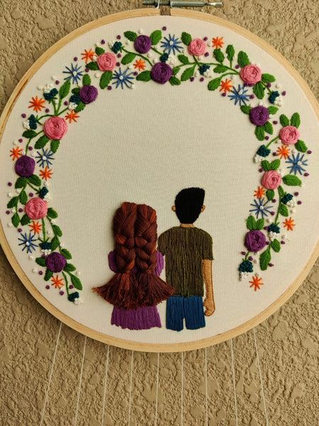 Girl & Boy Embroidered Hoop with Tassels