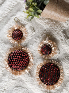 Beige Raffia earrings with a red and black base - The Tassle Life