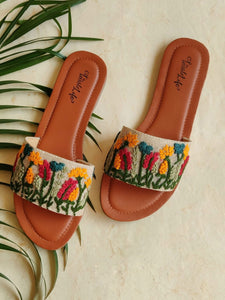 Hand Embroidered Floral Jute Sliders