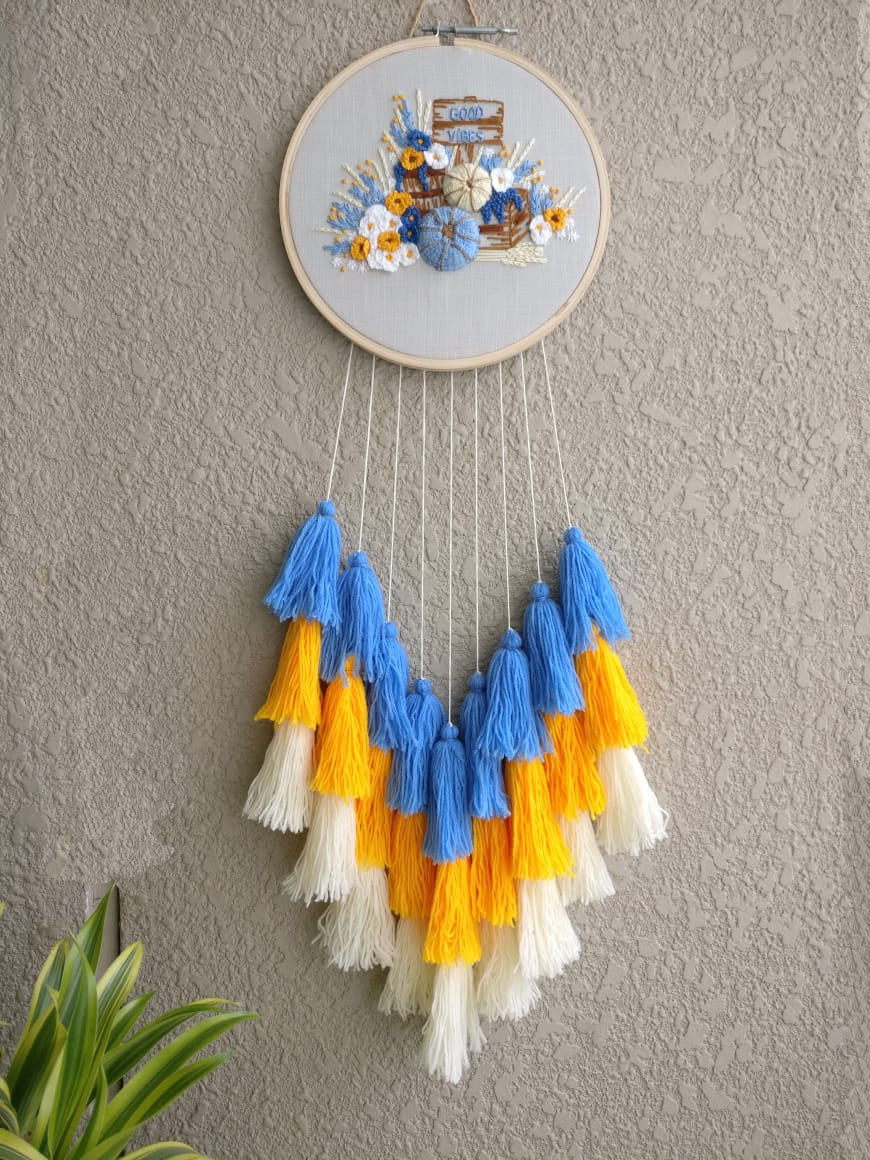 3D Good Vibes FLoral Hand Embroidered Dreamcatcher