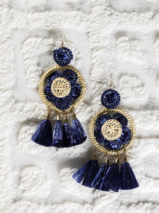 Navy blue and cream Raffia work Earrings with raffia tassels - The Tassle Life