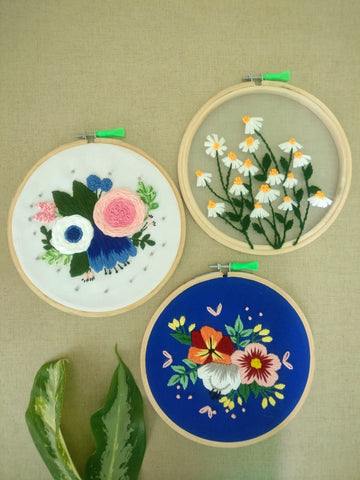 Hand Embroidered Hoop (Set of 3)