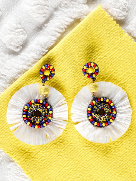 White Rafia with Multi-colour Bead Earring - The Tassle Life