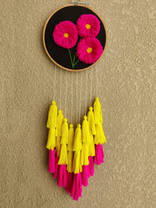 Hand Embroidered 3D Pink Floral Dreamcatcher