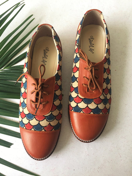 Oxfords - Fish scaled Azrak Print - The Tassle Life