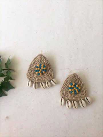 Triangle Shaped Jute Earring - The Tassle Life