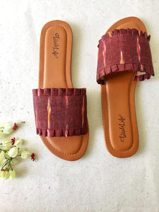 Ikat Sliders - Maroon