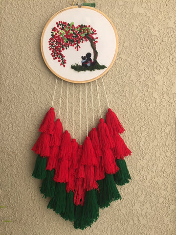Girl Under the Tree Hand Embroidered Dreamcatcher