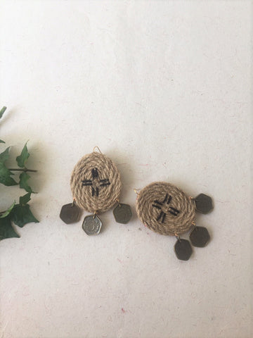Oval Shaped Jute Earring - The Tassle Life