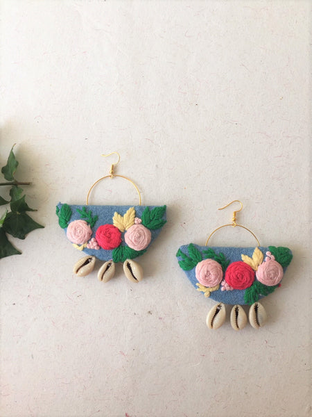 Flower Embroidered Earrings - The Tassle Life