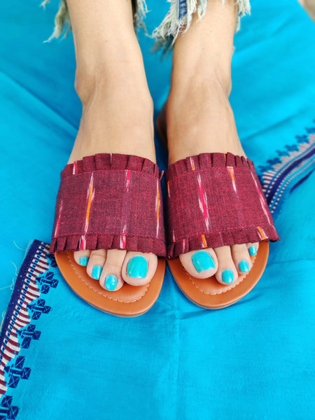 Ikat Sliders - Maroon - The Tassle Life
