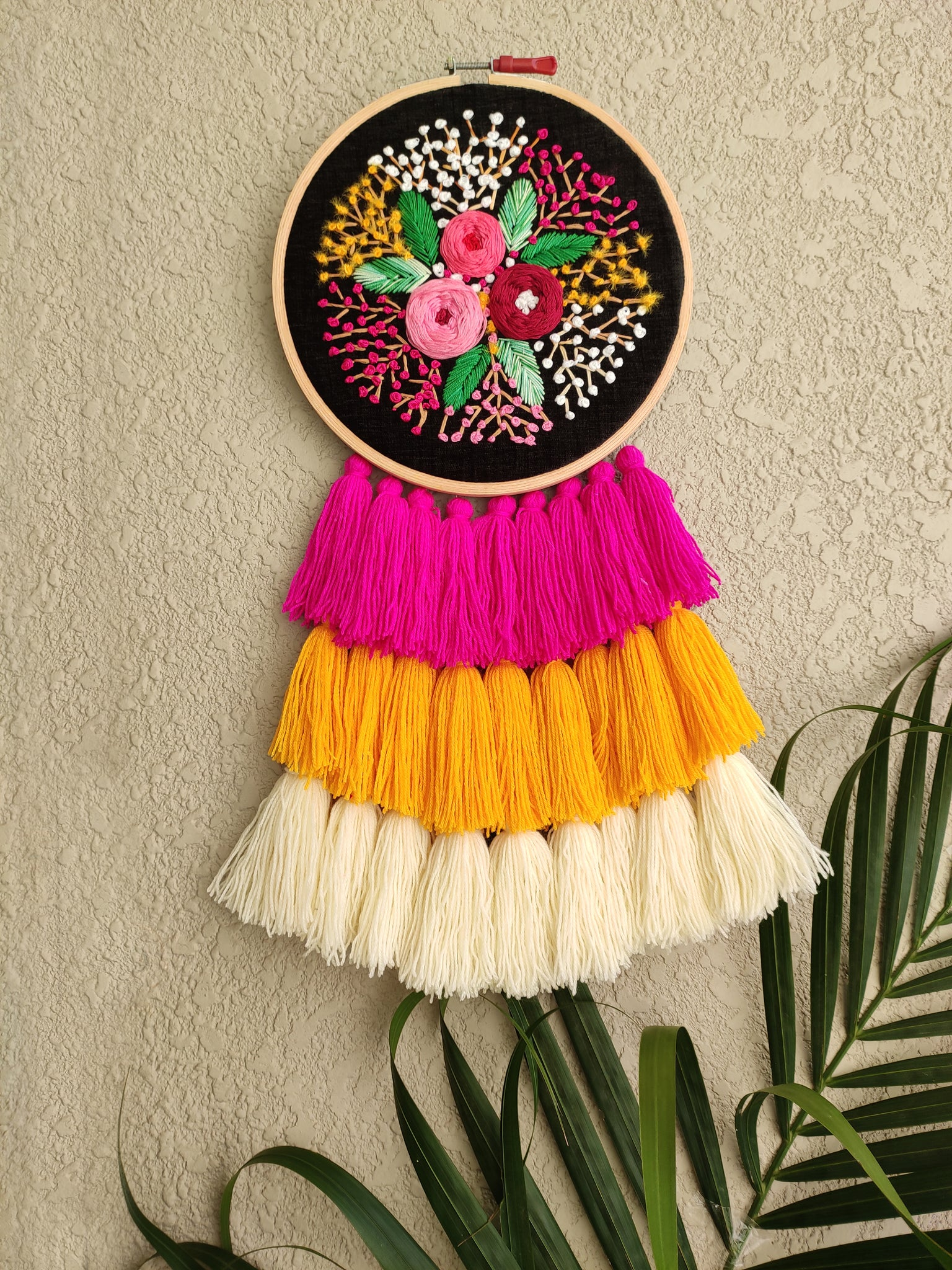 Hand Embroidered Black Floral Dreamcatcher - The Tassle Life