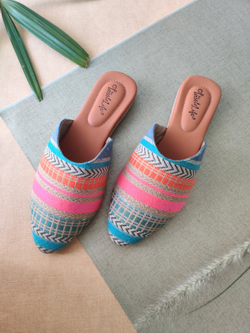 Multi-Colored Stripes Vegan Mules - The Tassle Life