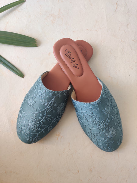 Teal Floral Embroidered Round Mules - The Tassle Life
