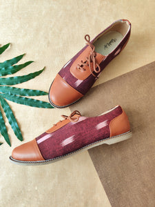 Oxfords - Maroon Ikat Print