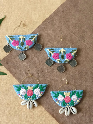 Flower Embroidered Earrings (Set of 2)
