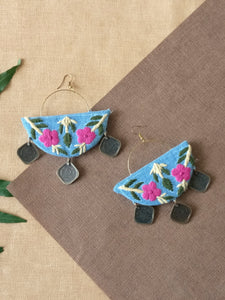 Flower Embroidered Earrings