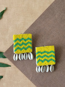 Zigzag Bead Embroidered Earrings
