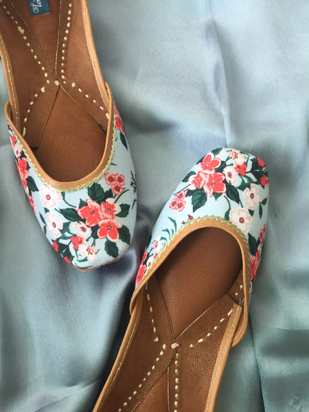 Floral Printed Ice Blue Jutti - The Tassle Life