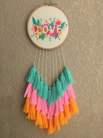 Love Hand Embroidered Dreamcatcher
