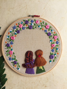 2 Girls looking out of the window Embroidered Hoop