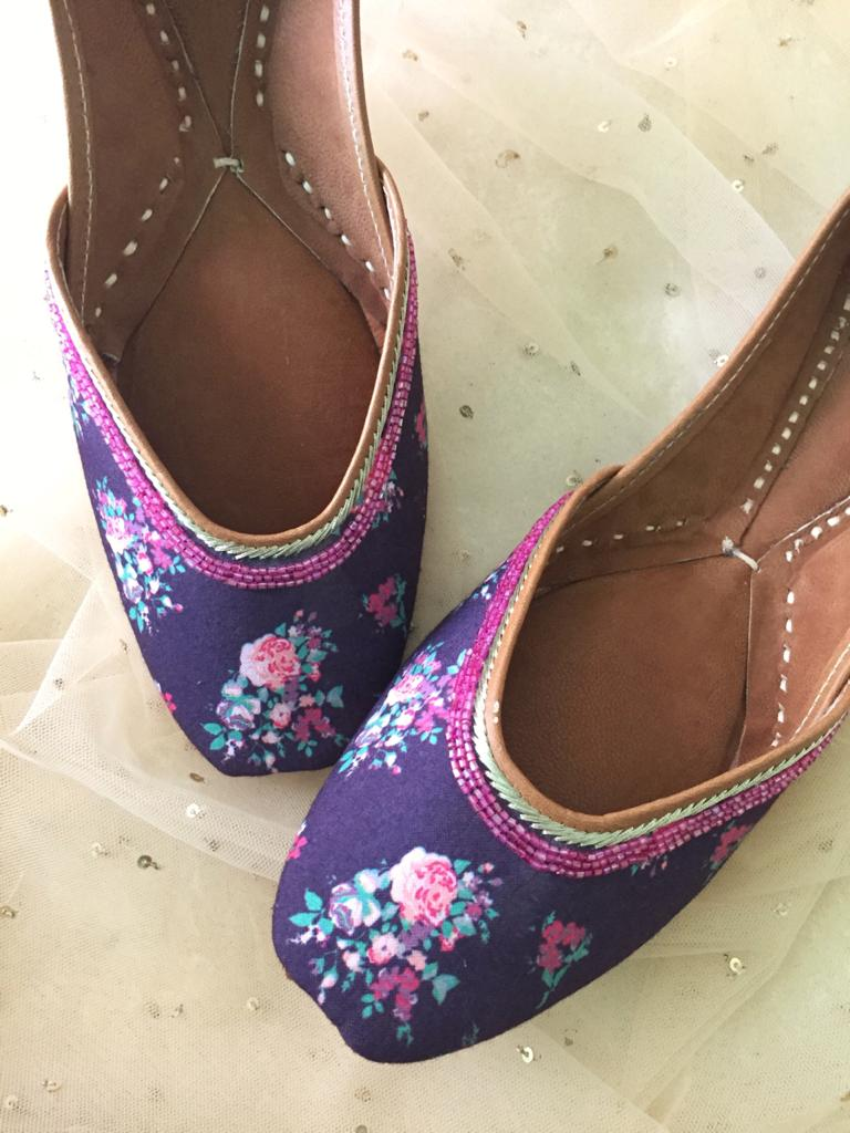 Floral Printed Purple Jutti - The Tassle Life