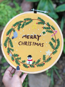 'Merry Christmas' Embroidered Hoop