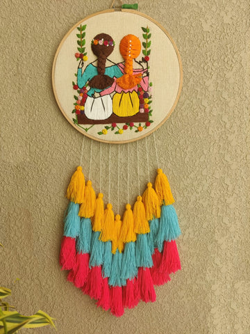 Best Friends Forever Embroidered Hoop with Tassels