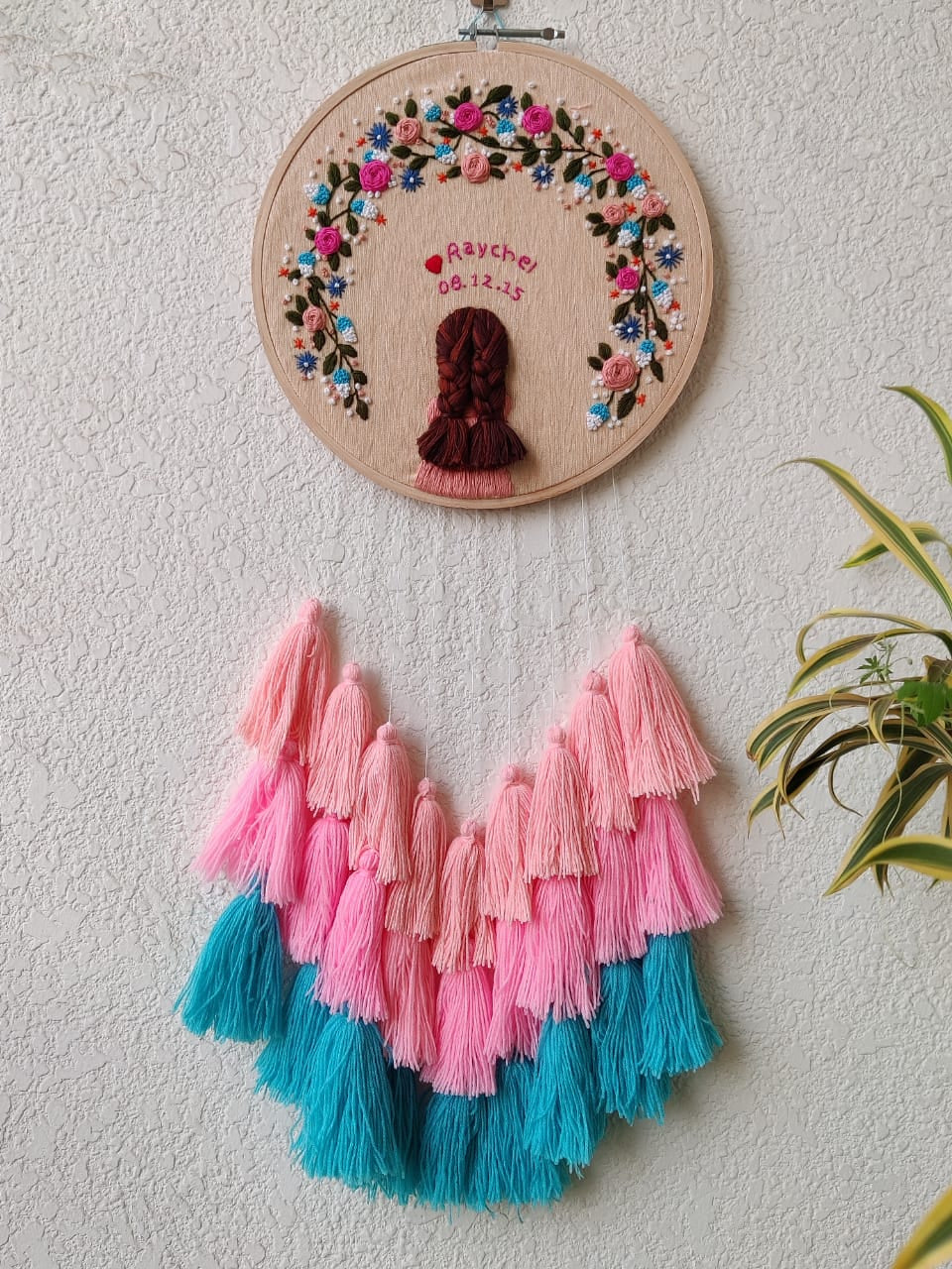 Single Girl Embroidered Hoop with Tassels