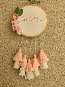 Customizable Floral Mini Embroidered Hoop with Tassels