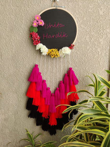 Customizable Floral Embroidered Hoop with Tassels