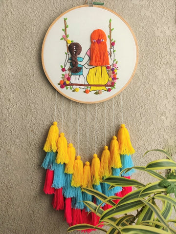 Mom & Daughter  Embroidered Hoop with Tassels