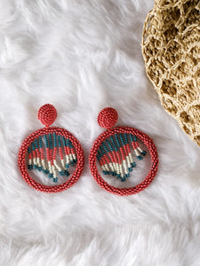Rouge colour bead work earrings with multicolour hanging beads - The Tassle Life