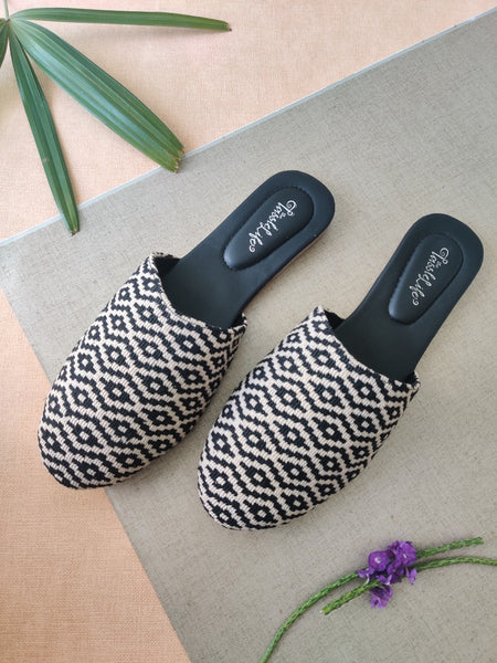 Textured Zigzag Vegan Round Mules - The Tassle Life