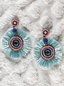 Green Raffia earrings with multicolour beads - The Tassle Life