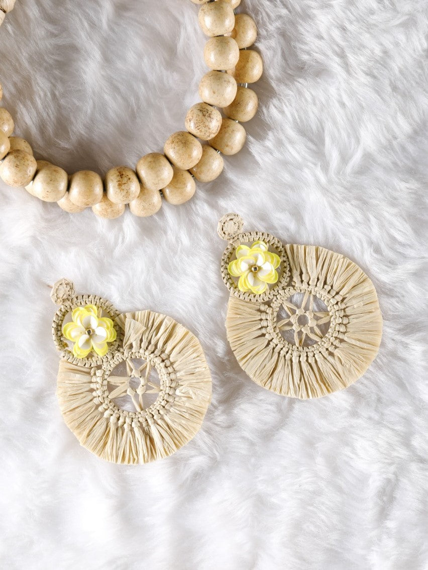 Beige Raffia earrings with a yellow floral stud - The Tassle Life