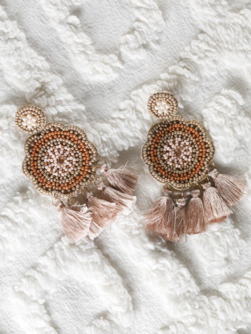 Light peach bead work earrings with tassels - The Tassle Life
