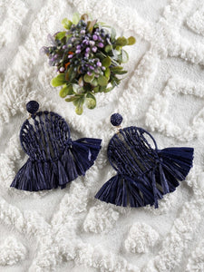 Navy blue Raffia work Earrings - The Tassle Life