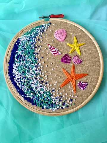 Sea Shell Embroidered Hoop - The Tassle Life