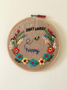 Dont Worry Embroidered Hoop - The Tassle Life